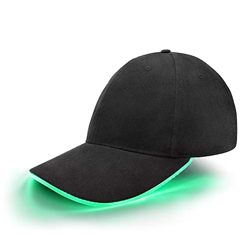 Hat Electronic - jiguoor LED Hat led Lighted Glow Club Party Sports Athletic Black Fabric Travel Flashlight Light up Hat Baseball Golf Hip-hop Sports Flash Cap Stage Performance Men Women US (Green)