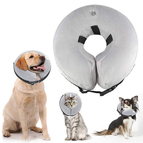 ATLES Inflatable Dog Collars After Surgery, Protective Pet Collar for Recovery for Dogs and Cats, Soft Dog Cones (L) by ATLES