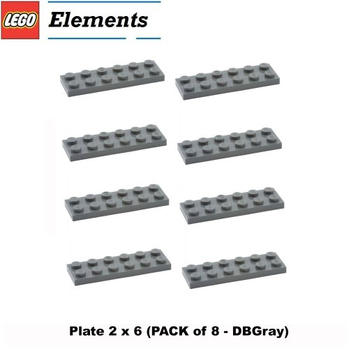 Lego-Parts-Plate-2-x-6-PACK-of-8-DBGray