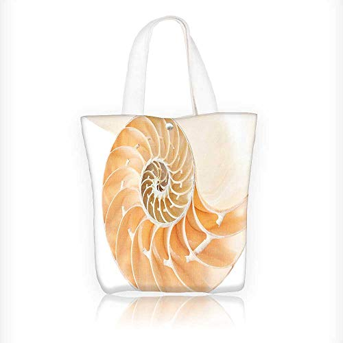 (Canvas Tote Bags Decor Nautilus Shell Showing the Chambers in Distance Curves Helix Hidden Print Cream Design Your Own Party Favor Pack Tote Canvas Bags by Big Mo's Toys W11xH11xD3 INCH)