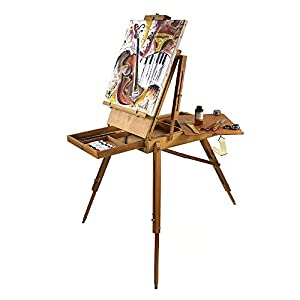 Artist Quality French Easel, Hardwood, Hand Varnished – Art Set with Paints, Stretched Canvases, Brush Sets, Drawing Supplies and More