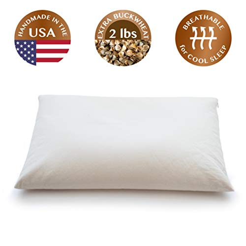 ComfyComfy Buckwheat Hull Pillow, Standard Size (20' x 26'), with...