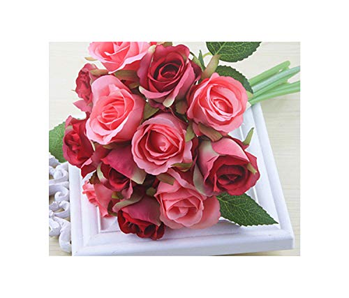 1 Bouquet Artificial Flower Rose 12s Diy Fake Silk Flowers Floral For Home Christmas Wedding Garden Party Decorationroes Red