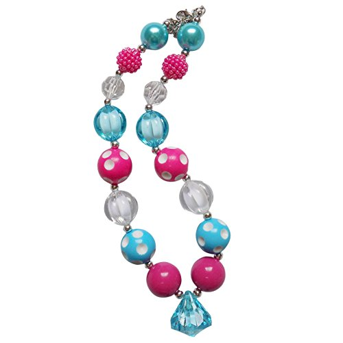 So Sydney Baby Toddler Girls Princess Chunky Bubblegum Beads Beaded Necklace (Hot Pink & Blue Gem) (Adult Princess Bubblegum Costume)