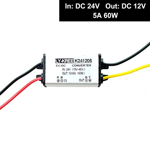 Pyle PSWNV240 DC Power Step Down Converter For Car RV Truck 24V to 12V 10A 240W Peak Universal Auto Mini DC-DC Voltage Step-Down Buck Converter Regulator Reducer Travel Adapter w// PWM Technology
