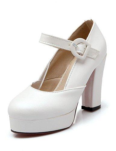 GGX/ Damen-High Heels-Büro / Lässig-PU-Blockabsatz-Absätze / Rundeschuh-Rosa / Lila / Weiß white-us5 / eu35 / uk3 / cn34