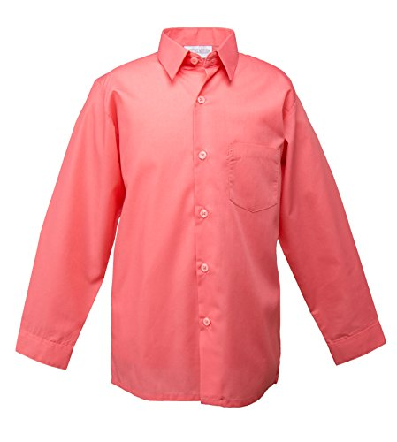 Spring Notion Big Boys' Long Sleeve Dress Shirt 10 Melon