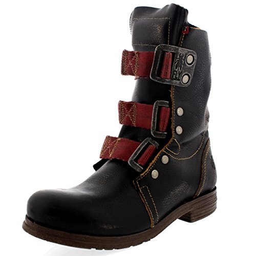 Ankle London Black Stif Womens Leather Biker Military Boots On Buckle Fly Pull 5PwxCqwz