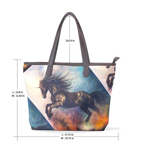 Della In Unicorno 33x45x13 Spazio Bag Spalla Manico Bags L Big Cm Nero 001 Dello Elaborazione Pelle Mano Coosun Di Dell'unità Multicolor Tote U7ZqwEf5