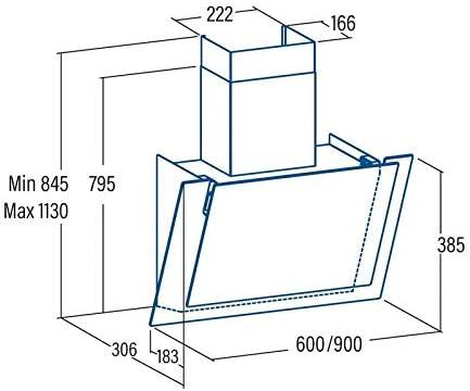 VLANO VALIO 900 XGBK Dunstabzugshaube 90cm kopffrei schwarz Glas 6 Leistungsstufen mit Nachlaufautomatik LED-Beleuchtung 44 dB bis 900 m/³//h A