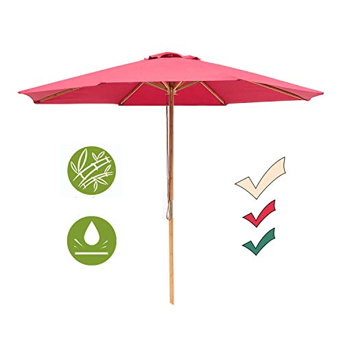 SUNNYARD 9 Ft Wood Patio Umbrella Bamboo Market Umbrella Outdoor Table Umbrella with Pulley Lift, 8 Ribs, Red