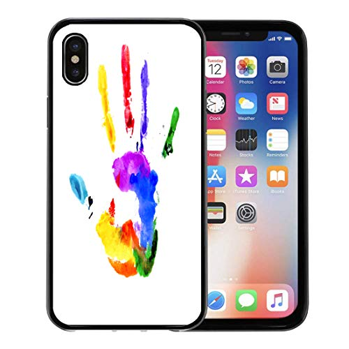 Semtomn Phone Case for Apple iPhone Xs case,Colorful Hand Handprint in Colors of The Rainbow White Red Paint Child Kid for iPhone X Case,Rubber Border Protective Case,Black ()