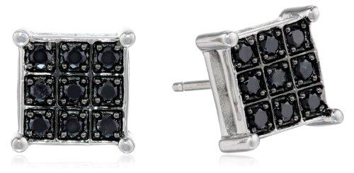 Sterling Silver Black Diamond 1/3cttw Square Earrings
