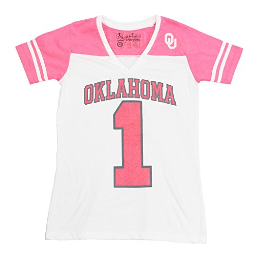 Royce Apparel Pressbox Women's University of Oklahoma Sooners V-Neck Tee Shirt (Oklahoma Lady Sooners Basketball)