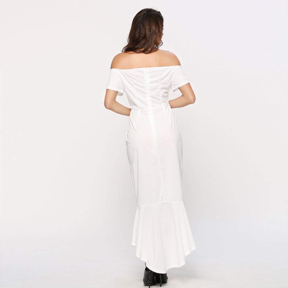 Wanshaqin Womens V-Neck Bodycon Dress Off The Shoulder Mermaid Evening Party Midi Dress Irregular Slim Dress