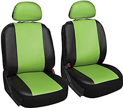 Motorup America 6 Piece Leather Seat Cover Set - Fits Select Vehicles Car Truck Van SUV - Green & Black