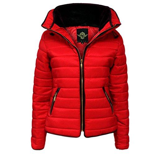Janisramone Mujeres Señoras nuevo Quilted Puffer Burbuja acolchado chaqueta pelaje Collarín oro zip up grueso calentar abrigo Rojo