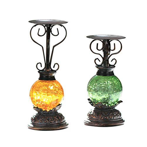 Decoration Flameless Candles Candlestick Candle Light Glass Decorative Ornaments Wrought Iron Candle Holder Wine Cabinet Ornaments Gifts 2 Candle Holder (Color : Black, Size : - Starlight Candlestick