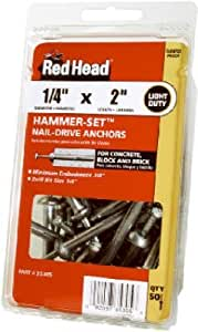 Itw Brands 35303 Hammer-Set Nail Drive Anchors, .25 x 1.5-In., 50-Pk. - Quantity 4