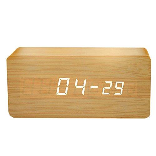 RONDE (ロンデ) 多機能 置き時計 プレゼント アラーム 音声感知 温...