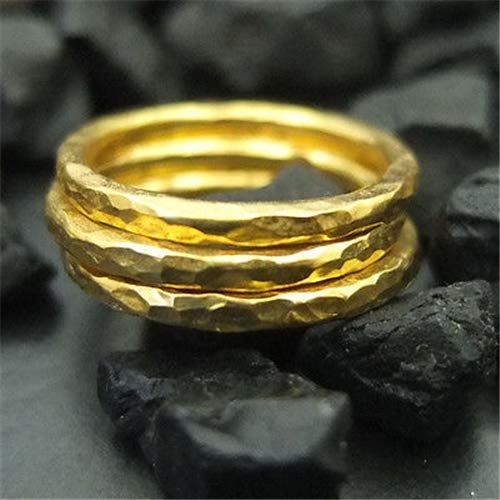 Ancient Design Handmade Hammered Band Engagemend Ring Set 22K Gold over 925 Sterling Silver 3pc ()
