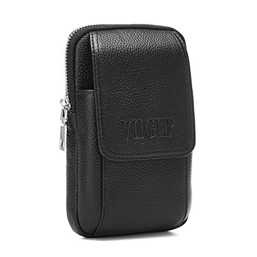 VIIGER Premium Leather Rugged Belt Pouches for Men Cell Phone Holster Carrying Pouch Holder Belt Clip Case Waist Bag Compatible for iPhone Xs Max/Xr/X/6/6s/7/8 Plus Galaxy S7,S8, S9, S10 Plus, Black