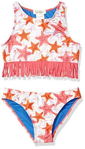 Jessica Simpson Big Girls' 2-Piece Bikini Swimsuit Set, Fringe Front Star Print, 16