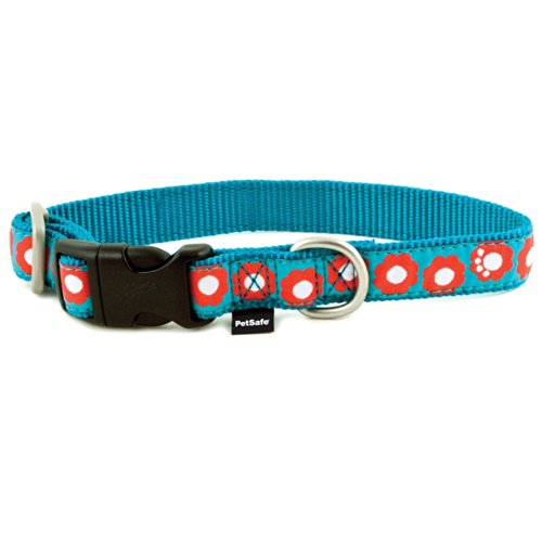 PetSafe Fido Finery Quick Snap Dog Collar, 1-Inch, Large, Teal My Heart