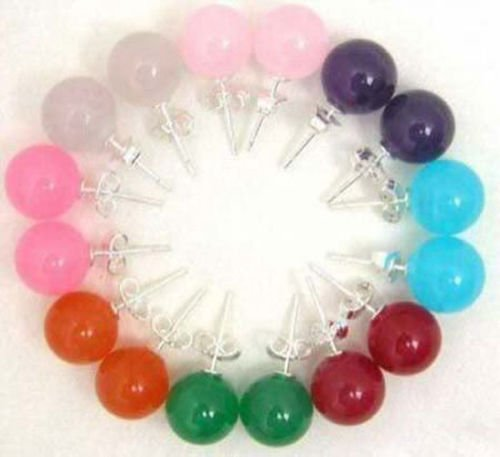 - Charming Earrings | Multicolor Earrings | Chalcedony Stone | Round Beads Stud Earring 8 Sets 10Mm