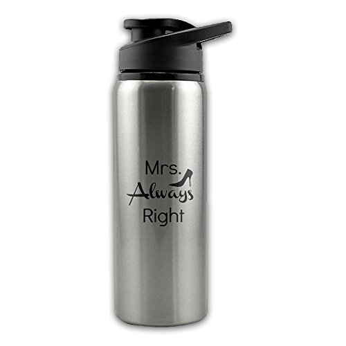 Mrs. Always Right Stainless Steel Layer Sports Water Bottle With Wide Mouth - The Face My Glasses For Right