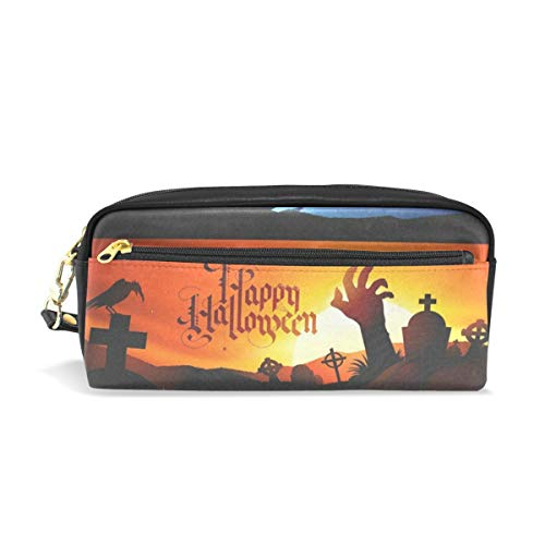 (Pencil Case/Makeup Bags Halloween Witch Black Cat Tomb Big Capacity Portable Pencil Bag for College)