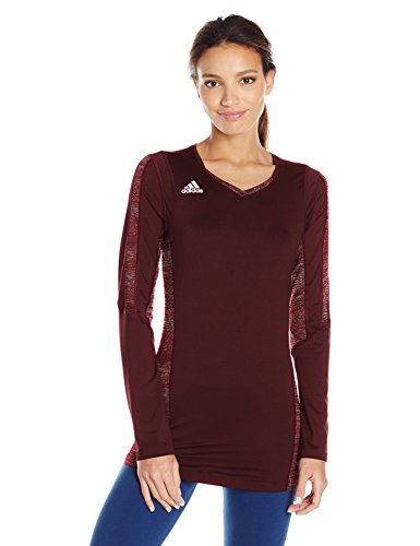 - adidas Women's Volleyball Quickset Long Sleeve Jersey, XX-Large, Maroon/Shock Pink