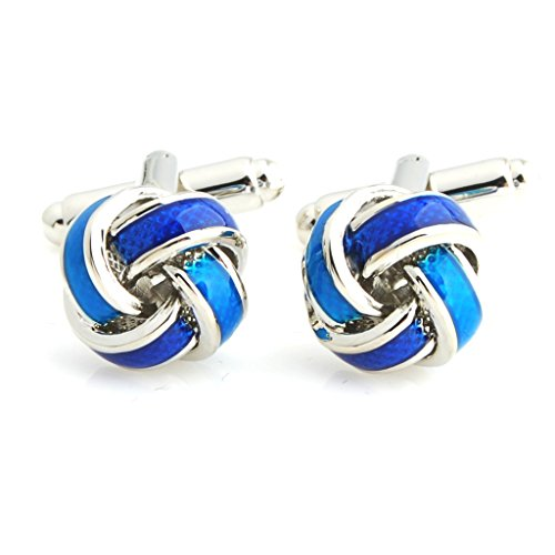 The Smart Man Men's Blue Enamel Knot Cufflinks
