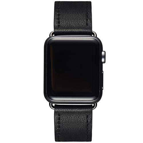 LOVLEOP Bands Compatible with Smart Watch Band 40mm 38mm 44mm 42mm, Top Grain Leather Strap for Smart Watch Series 4 Series 3 Series 2 Series 1 (Black +Black Connector, 38mm 40mm)