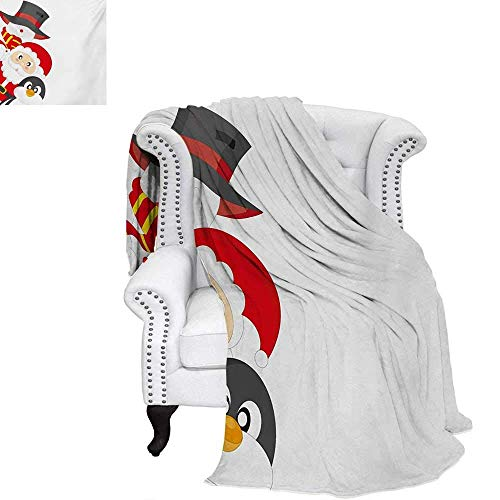 CHASOEA Christmas Summer Quilt Comforter Friendly Happy Santa Claus Penguin Snowman Festive Holiday Design Digital Printing Blanket 60