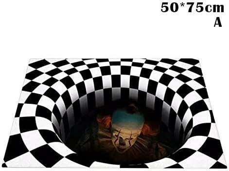 IT 3D Hole Doormat Caretive Vortex Illusion Doormat Stereo Vision IT Illusion Rug Living Room Bedroom Art Carpet 3D Visual Vortex Optical Anti-Slip Floor Mat lzndeal Halloween 3D Illusion Doormat