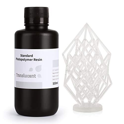 ELEGOO LCD UV 405nm Rapid Resin für LCD 3D Drucker 500g Photopolymer Kunstharz Flüssige 3D-Druckmaterialien Transluzent 500g