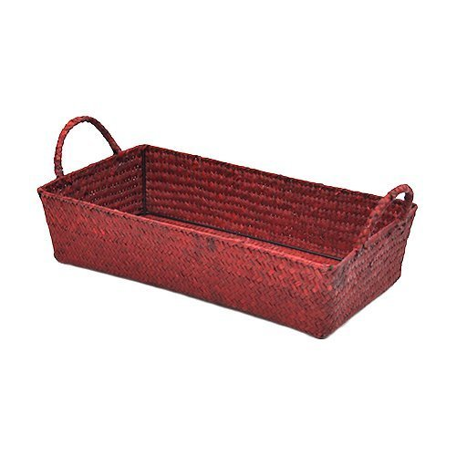 The Lucky Clover Trading Slim Seagrass Rectangular Tray with Handle, Red