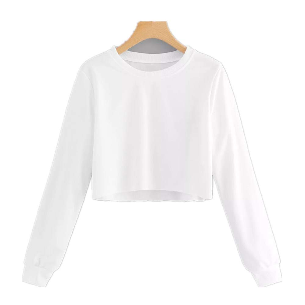 Sweatshirts Long Sleeve Shirts Women Crop Tops Pullover Solid Color Shirts Teen Girls Casual Jumper Blouse Tops