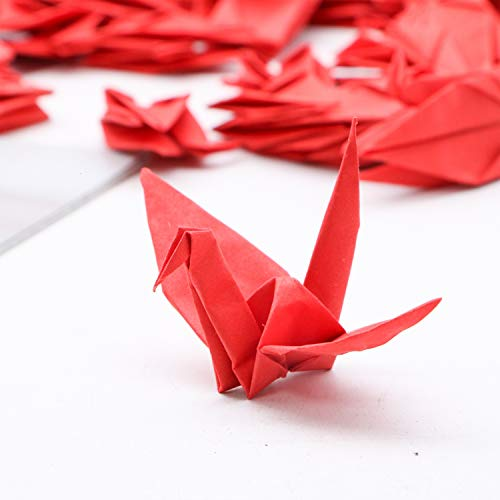JETEHO 100 Pcs Red Folded Origami Paper Cranes Paper Hanging Bird for Wedding Valentines Day Decoration