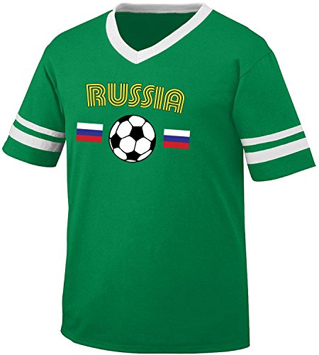 fan products of Russia Soccer / Football and Flag Men's Retro Soccer Ringer T-shirt, Amdesco, Kelly/White Small
