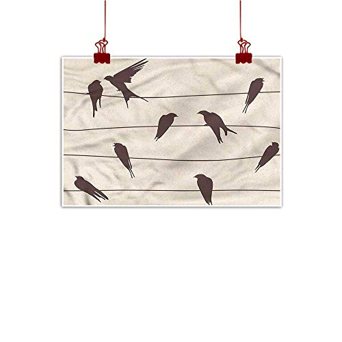 (warmfamily Wall Painting Prints Cream,Bird Silhouettes on Wires 20