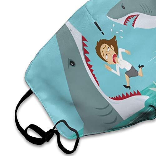 Dust Mask Running On The Water Escape Sharks Fashion Anti-dust Reusable Cotton Comfy Breathable Safety Mouth Masks Half Face Mask for Women Man Running Cycling Outdoor