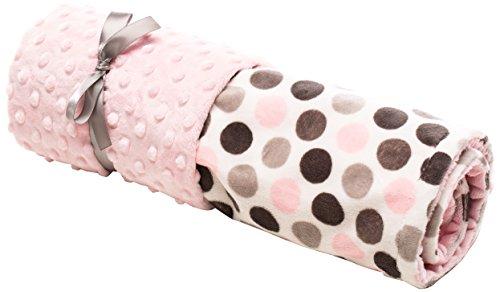 Elonka Nichole Baby Girl Jumbo Dot Original Mimi Receiving Blanket, Pink/Grey, 35