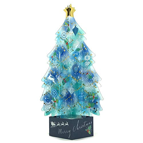 Blue Crystal 3d Christmas Tree Pop Up Greeting Card Buy Online In