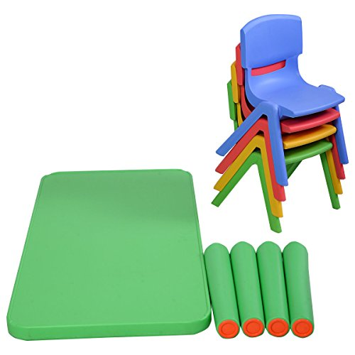 Costzon Kids Table And Chairs Set Plastic Learn And Play
