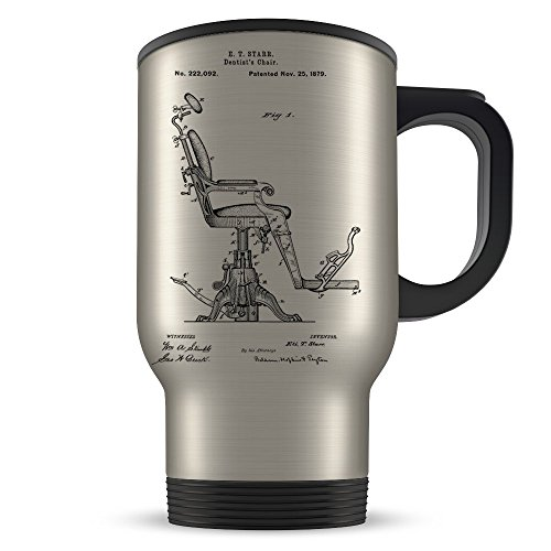 Dentist Travel Mug for Women and Men - Dentist Coffee Cup for Student Graduation or Profession - Best Dental Hygienist Gift Idea - Cool Dentistry Chair Patent Cup