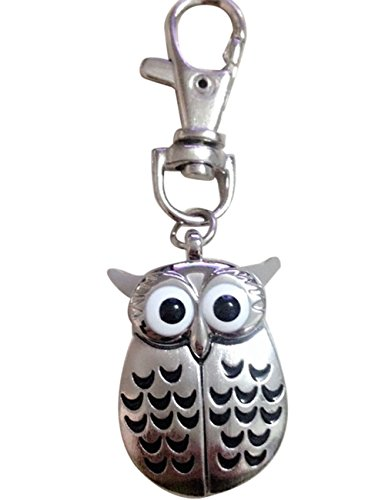 Black Two Tone Pocket Watch (Women Watches Ladies Girls Cute Gorgeous Owl Watch Clip Keychain Pocket Watches on Sale Clearance (Black))