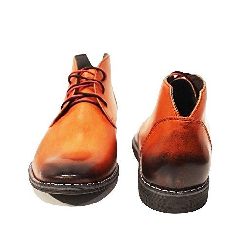 Modello Orango - Handmade Italiennes Orange Bottes Chukka - Cuir de vachette Cuir peint à la main - Lacer
