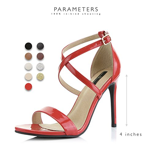 Leather High Open Casual Dress Party Red Platform Ankle Premium Strap DailyShoes Heel Sandal Evening Toe Pump Buckle Women's Patent Cross Shoes CR6wq5A